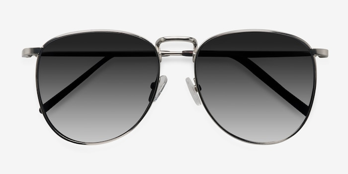 Fume Silver Metal Sunglass Frames from EyeBuyDirect, Closed View