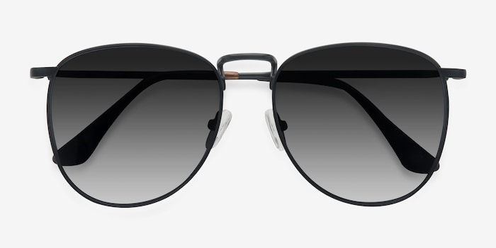 Fume Black Metal Sunglass Frames from EyeBuyDirect, Closed View