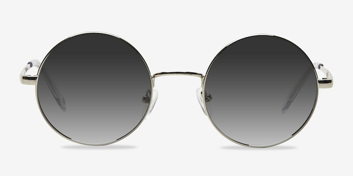 Guru Silver Metal Sunglass Frames from EyeBuyDirect, Front View