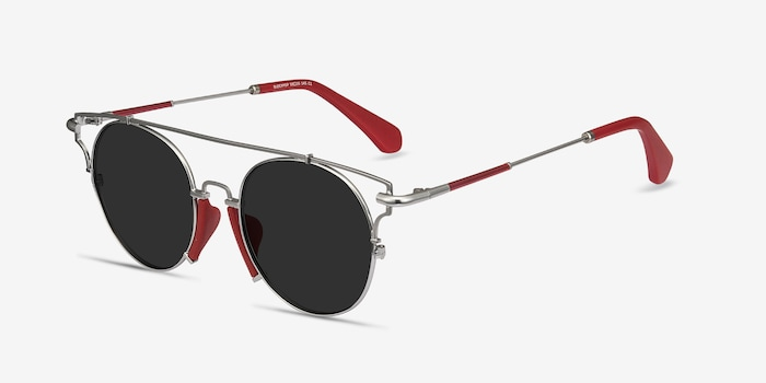 Blockpop Silver Red Acetate Sunglass Frames from EyeBuyDirect, Angle View