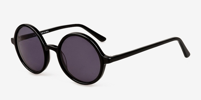 Alena Black Acetate Sunglass Frames from EyeBuyDirect, Angle View