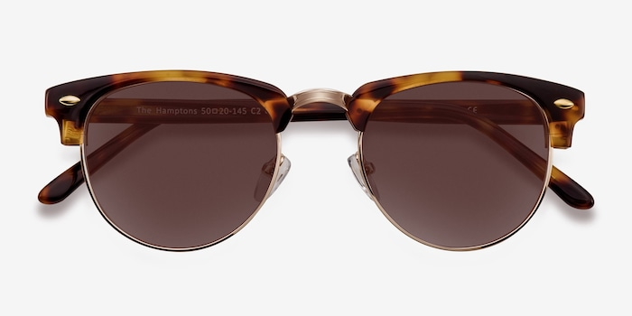 The Hamptons Golden Tortoise Acetate Sunglass Frames from EyeBuyDirect, Closed View