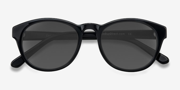 Coppola Black Plastic Sunglass Frames from EyeBuyDirect, Closed View