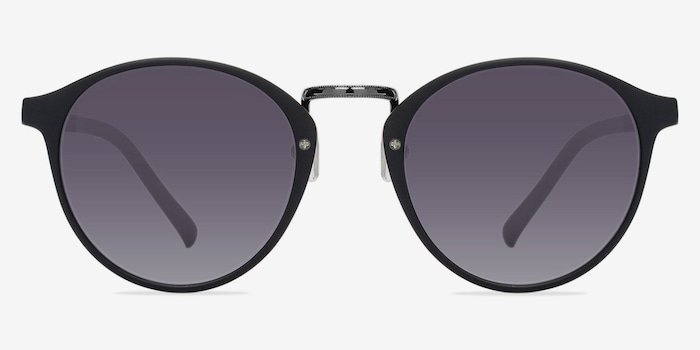 Millenium Matte Black Plastic Sunglass Frames from EyeBuyDirect, Front View