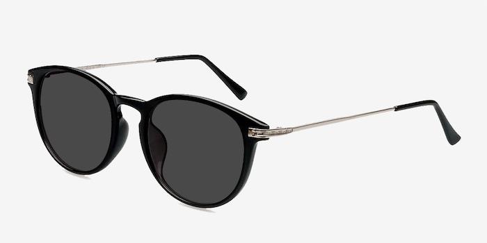 Monroe Black Plastic Sunglass Frames from EyeBuyDirect, Angle View