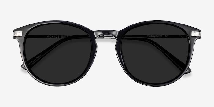 Monroe Black Plastic Sunglass Frames from EyeBuyDirect, Closed View