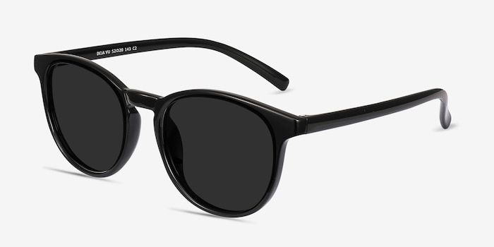 Deja vu Black Plastic Sunglass Frames from EyeBuyDirect, Angle View