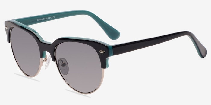 Carven Black Plastic Sunglass Frames from EyeBuyDirect, Angle View