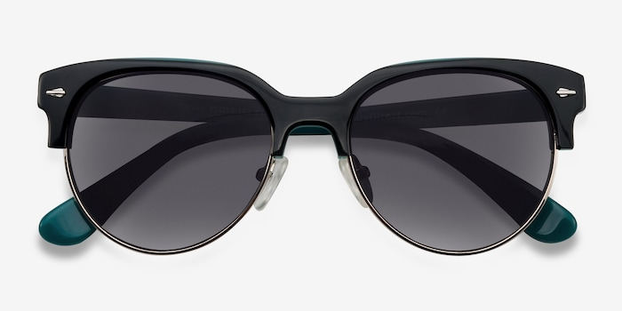 Carven Black Plastic Sunglass Frames from EyeBuyDirect, Closed View