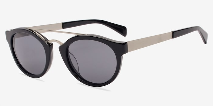 Enzo Black Acetate Sunglass Frames from EyeBuyDirect, Angle View