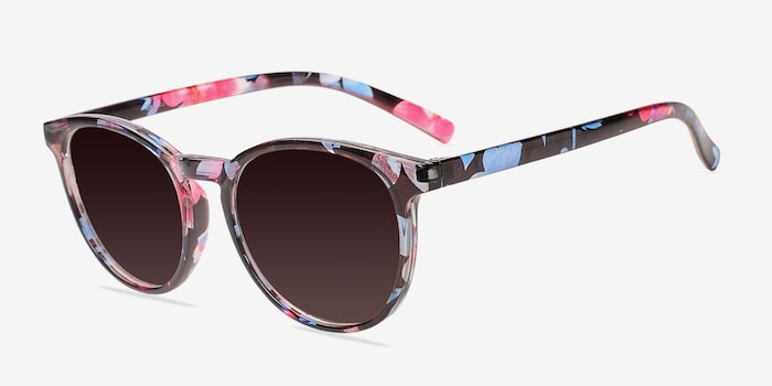 Deja vu Blue/Floral Plastic Sunglass Frames from EyeBuyDirect, Angle View