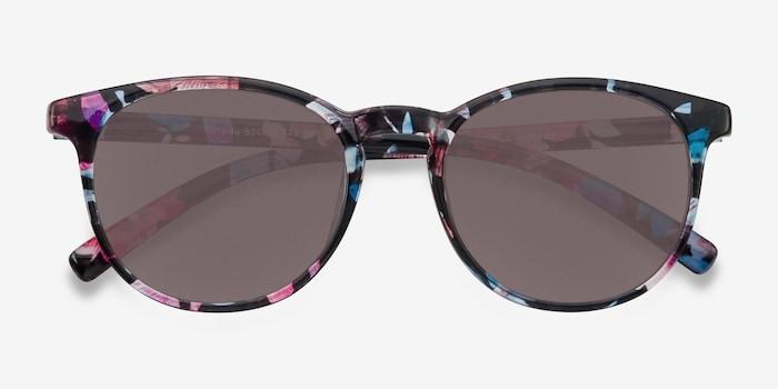 Deja vu Blue/Floral Plastic Sunglass Frames from EyeBuyDirect, Closed View