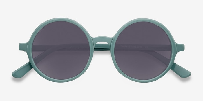 Alena Green Acetate Sunglass Frames from EyeBuyDirect, Closed View