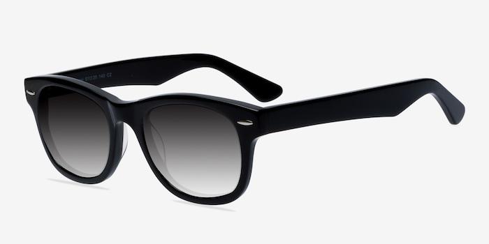 Hanoi Black Acetate Sunglass Frames from EyeBuyDirect, Angle View