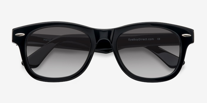 Hanoi Black Acetate Sunglass Frames from EyeBuyDirect, Closed View
