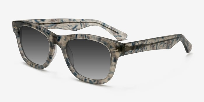 Hanoi Clear Floral Acetate Sunglass Frames from EyeBuyDirect, Angle View