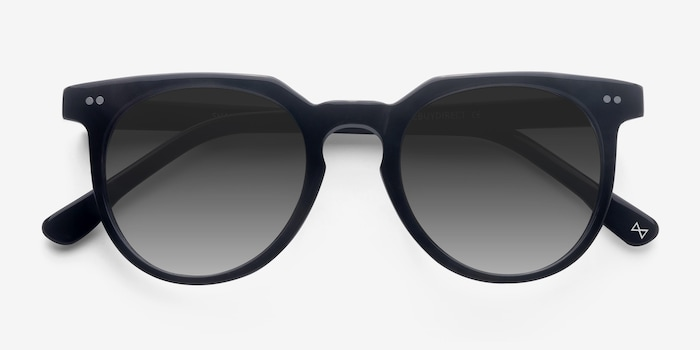Shadow Jet Black Acetate Sunglass Frames from EyeBuyDirect, Closed View