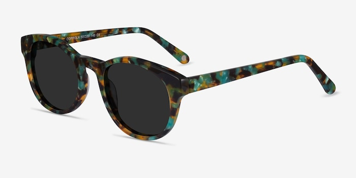 Coppola Green Tortoise Acetate Sunglass Frames from EyeBuyDirect, Angle View