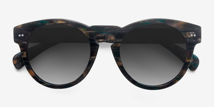 Penelope Tribal Green Acetate Sunglass Frames from EyeBuyDirect, Closed View