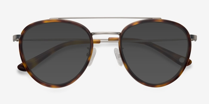 Brookline Tortoise Acetate Sunglass Frames from EyeBuyDirect, Closed View
