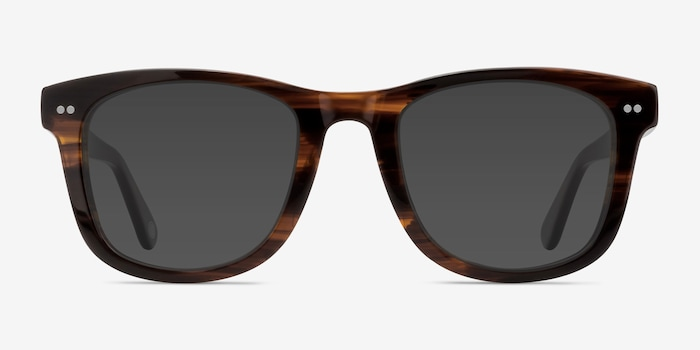 Nevada Brown Striped Acetate Sunglass Frames from EyeBuyDirect, Front View