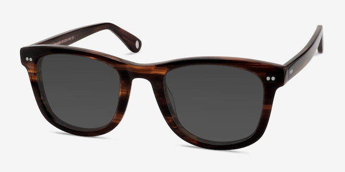 Nevada Brown Striped Acetate Sunglass Frames from EyeBuyDirect, Angle View