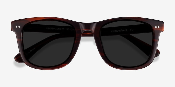 Nevada Brown Striped Acetate Sunglass Frames from EyeBuyDirect, Closed View