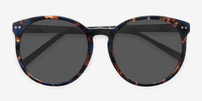 Vapor Blue Floral Acetate Sunglass Frames from EyeBuyDirect, Closed View