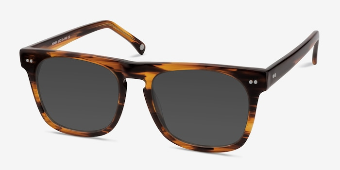 Miami Brown Striped Acetate Sunglass Frames from EyeBuyDirect, Angle View