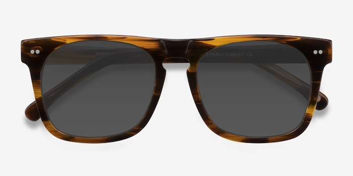 Miami Brown Striped Acetate Sunglass Frames from EyeBuyDirect, Closed View