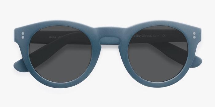 Ibiza Matte Blue Acetate Sunglass Frames from EyeBuyDirect, Closed View