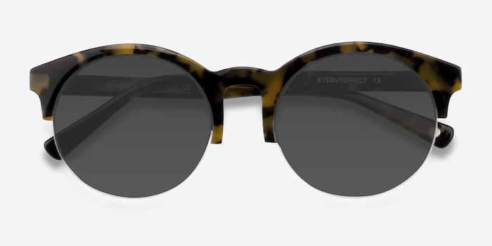 Verona Tortoise Acetate Sunglass Frames from EyeBuyDirect, Closed View