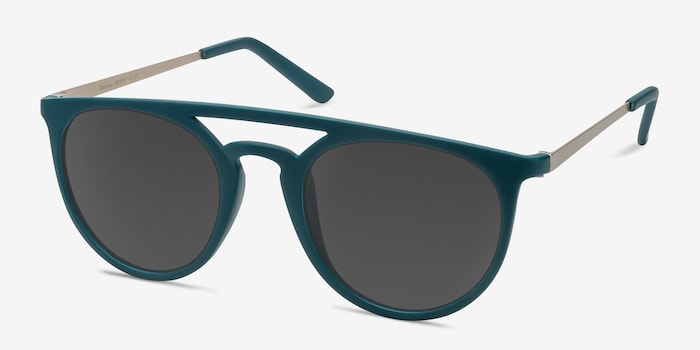 Benicia Matte Green Plastic Sunglass Frames from EyeBuyDirect, Angle View