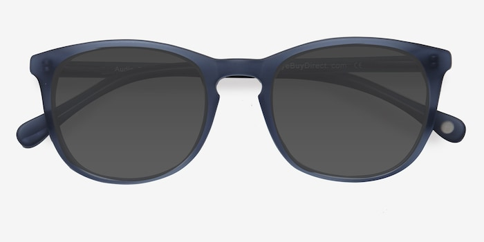 Audio Matte Navy Acetate Sunglass Frames from EyeBuyDirect, Closed View