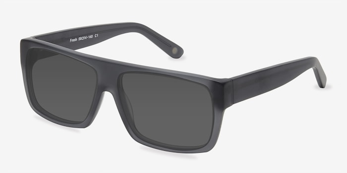 Fresh Matte Gray Acetate Sunglass Frames from EyeBuyDirect, Angle View