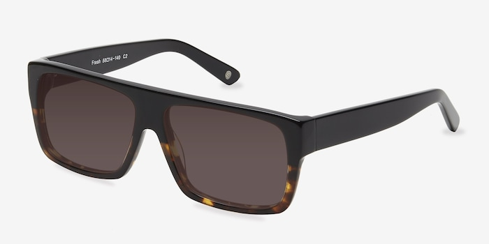 Fresh Black Tortoise Acetate Sunglass Frames from EyeBuyDirect, Angle View