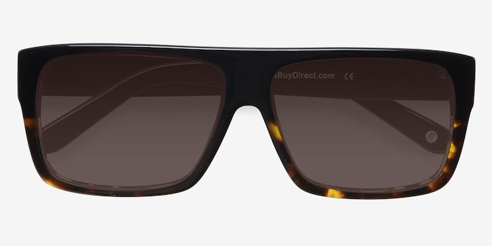 Fresh Black Tortoise Acetate Sunglass Frames from EyeBuyDirect, Closed View