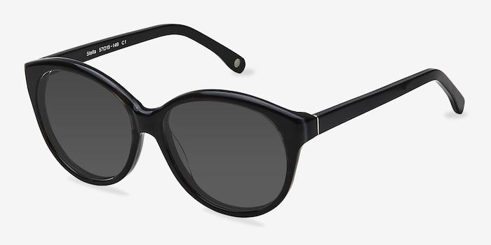 Stella Dark Gray Acetate Sunglass Frames from EyeBuyDirect, Angle View