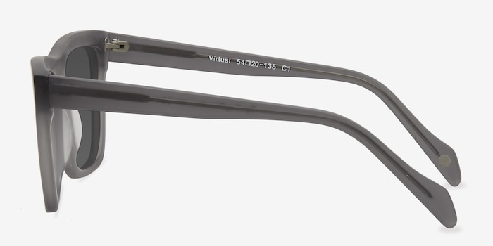 Virtual Matte Gray Acetate Sunglass Frames from EyeBuyDirect, Side View