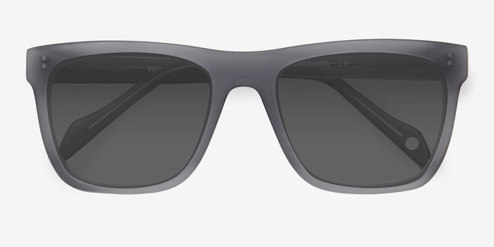 Virtual Matte Gray Acetate Sunglass Frames from EyeBuyDirect, Closed View