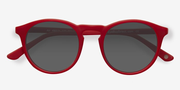 Air Matte Red Acetate Sunglass Frames from EyeBuyDirect, Closed View