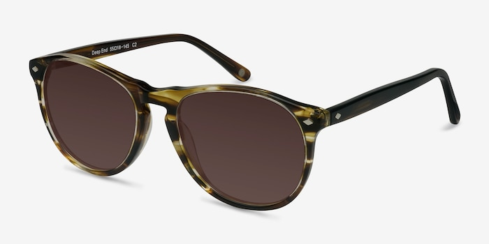 Deep End  Brown Striped  Acetate Sunglass Frames from EyeBuyDirect, Angle View