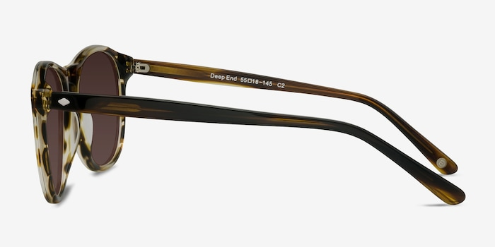 Deep End  Brown Striped  Acetate Sunglass Frames from EyeBuyDirect, Side View