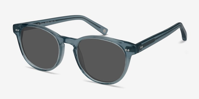 Till Dawn Clear Blue Acetate Sunglass Frames from EyeBuyDirect, Angle View