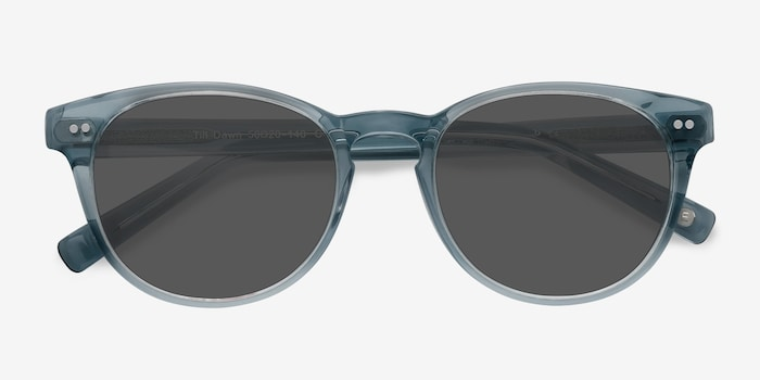 Till Dawn Clear Blue Acetate Sunglass Frames from EyeBuyDirect, Closed View