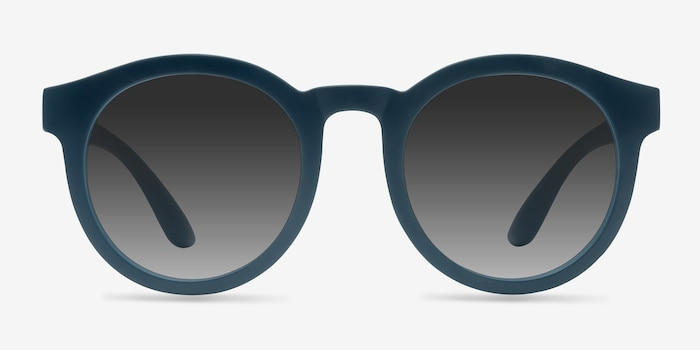 Oasis Matte Blue Plastic Sunglass Frames from EyeBuyDirect, Front View