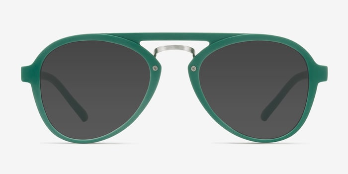 Chips Green Plastic Sunglass Frames from EyeBuyDirect, Front View