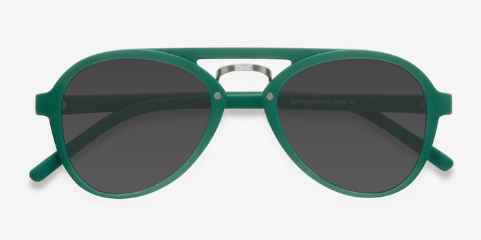 Chips Green Plastic Sunglass Frames from EyeBuyDirect, Closed View