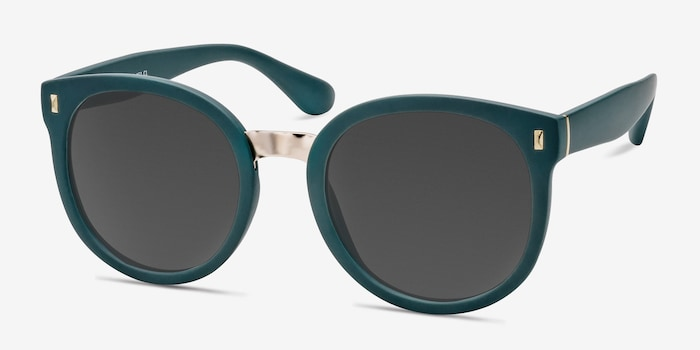 Vedette Matte Green Metal Sunglass Frames from EyeBuyDirect, Angle View