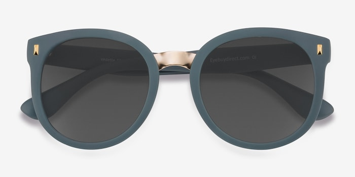 Vedette Matte Green Metal Sunglass Frames from EyeBuyDirect, Closed View